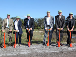 At the Jan. 10 groundbreaking ceremony, from left to right, are Hillsborough county commissioners Al Higginbotham and Sandy Murman; Gordon Gillette, president of Tampa Electric and Peoples Gas; Thom Stork, executive director of the Florida Aquarium; FWC Chairman Kenneth Wright; and state Rep. Dana Young.