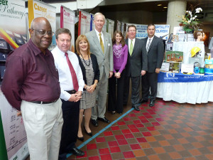 From left to right: Leroy Sullivan Jr.; Gordon Gillette; Fredi Beck; President of the Hillsborough Education Foundation (HEF) Phil Jones; Cristina Vatalaro, senior associate director of Development with HEF; Alan Denham; and Scott Brooks, director of Career, Technical and Adult Education with Hillsborough County Schools.