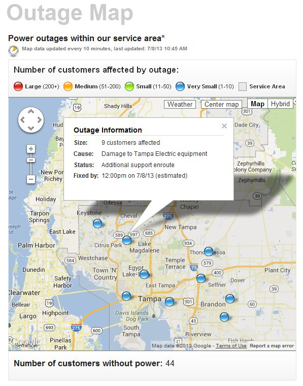 A screen shot of Tampa Electric's outage map. The real thing is just a click away.