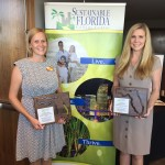 At right, Shelly Aubuchon joins Amanda Amico, from LEGOLAND's Sales & Marketing team, at the Sustainable Florida awards.
