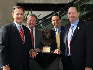 Representing project partners are, from left, TECO Energy President and CEO John Ramil; Gordon Gillette, president of Tampa Electric and Peoples Gas; Robert Beltran, executive director of the Southwest Florida Water Management District; and Lakeland City Manager Doug Thomas.