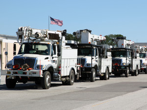 Through our participation in a mutual assistance pact with other utilities, our crews will help other communities in need after severe weather, just as we'll receive help when we need it. Here, TECO crews head to New Jersey.