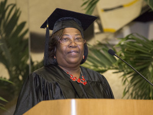 Sharon Walker delivers her address to her class.