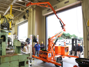 The Grabber's overhead crane supports TECO team members who need to make repairs to fleet vehicles at elevations of up to 31 feet.