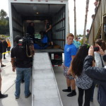 All Rocky Balboa needs is music on the soundtrack as he arrives by truck at Tampa's Manatee Viewing Center.