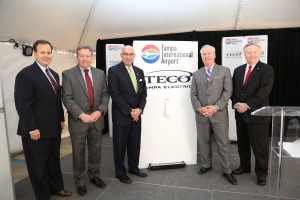 From left: John Ramil, TECO Energy president and CEO; Gordon Gillette, president of Tampa Electric and Peoples Gas; Joe Lopano, CEO of the Hillsborough County Aviation Authority; Tampa Mayor Bob Buckhorn; and Robert Watkins, Tampa International Airport board member.