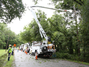 TECO crews at work restoring power after Tropical Storm Colin.