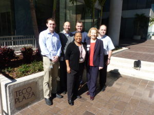 From left to right: Paul Lulgjuraj, Luke Buzard, Dr. Gloria Hill (all with TECO) and Steve Knobl, Bobbi Davis and Steve Costner (with the ELC).