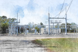 A closer look at the stylized rendering of Johnny Dean Page Substation, on County Line Road near the Publix headquarters - an area seeing significant economic development efforts get off the ground.