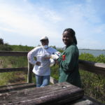 Cheryl Johnson, left, and Patrice Jackson at the McKay Bay observation tower - now with a better view of the surrounding habitat that it's had in a long time thanks to the invasive-species removal efforts of volunteers from TECO and elsewhere.