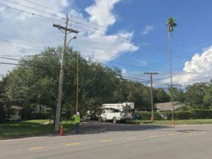 Power restoration work on Davis Islands.