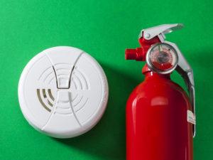 Fire prevention at home always factors in a fire extinguisher, smoke detector and carbon monoxide alarm.